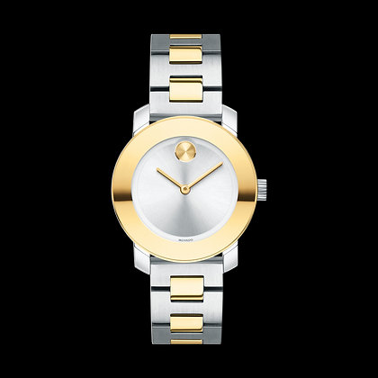 MOVADO BOLD METALS Silver Tone Sunray Dial 2 Tone Yellow Gold Stainless Steel