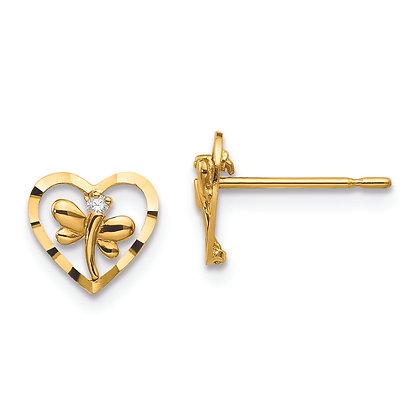 QG 14k Yellow Gold Madi Children's Dragonfly Earrings