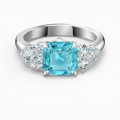 SWAROVSKI  Sparkling Ring, Aqua, Rhodium plated size 8,7
