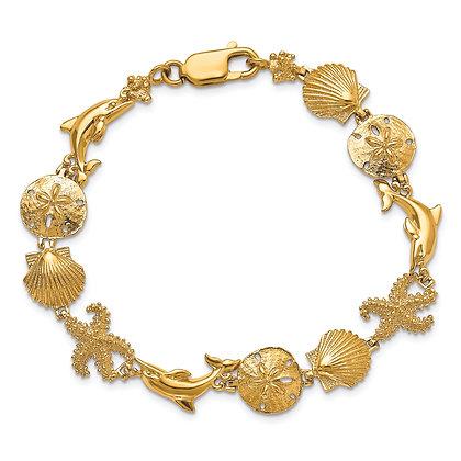 QG 14K Yellow Gold SEASHORE THEME BRACELET