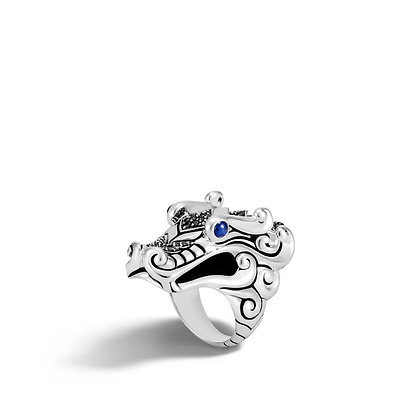 JOHN HARDY Naga Ring with Black Sapphire and Black Spinel SZ 8