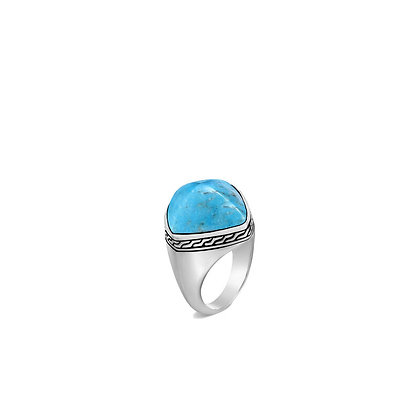 JOHN HARDY Classic Chain Sugarloaf Ring with Turquoise SZ 7