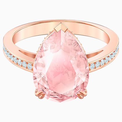 SWAROVSKI Vintage Cocktail Ring, Pink, Rose-gold tone plated size 6,7.