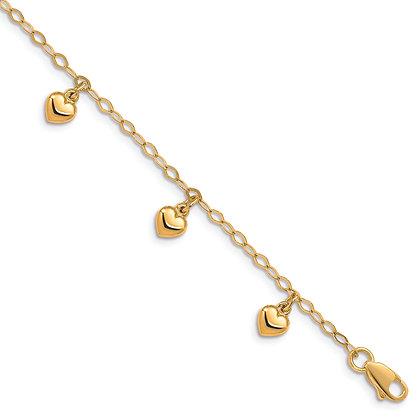 QG 14K Yellow Gold CHILD'S PUFFED HEART CHARM BRACELET