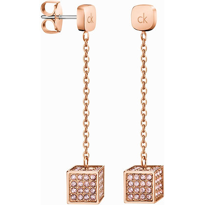 CALVIN KLEIN Rocking Stainless Steel rose gold drop Earrings