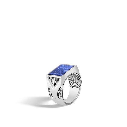JOHN HARDY Classic Chain Sil Signet Ring W/ Sodalite Sz 10