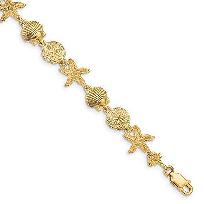 QG 14k Seashell Theme Bracelet