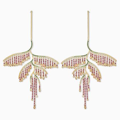 SWAROVSKI Tropical Leaf Pierced Earrings, Dark multi-coloured