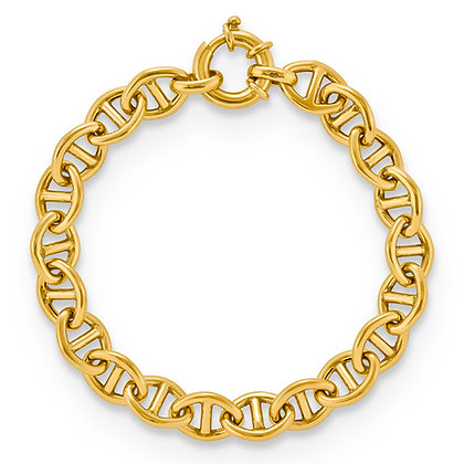 QG Sterling Silver Classic Link Gold Plated Bracelet