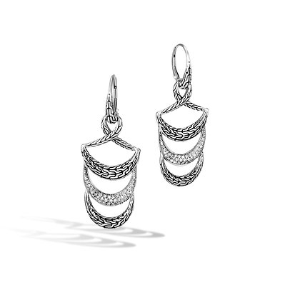 JOHN HARDY Classic Chain Sil Diamond Pave 0.32Ct Drop Earrings