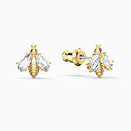 SWAROVSKI New-Eternal Flower Bee Pierced Earrings, White, Gold-tone plated