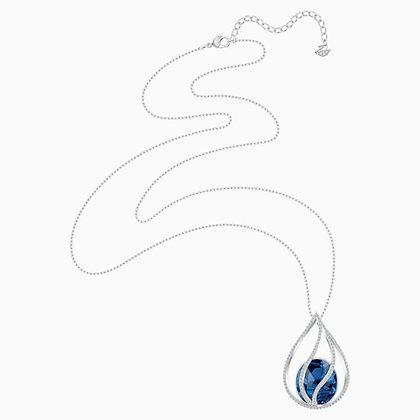 SWAROVSKI Energic Necklace, Blue, Rhodium plated