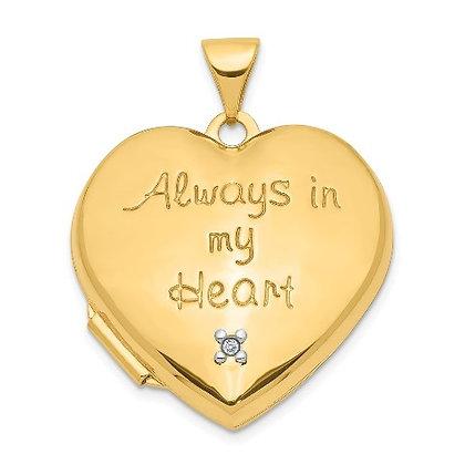 QG 14k 21mm Diamond Heart With Heart Charm Inside Locket