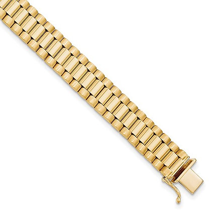 QG 14K Men's Satin And Polished 8in Link Bracelet
