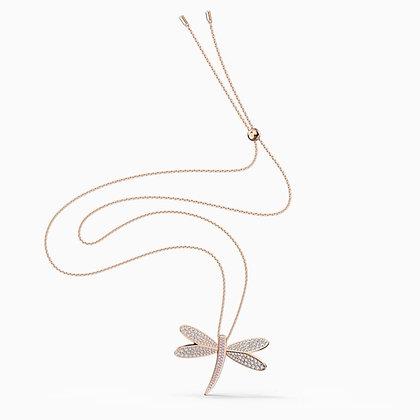 SWAROVSKI  New- Eternal Flower Necklace, White, Rose-gold tone plated