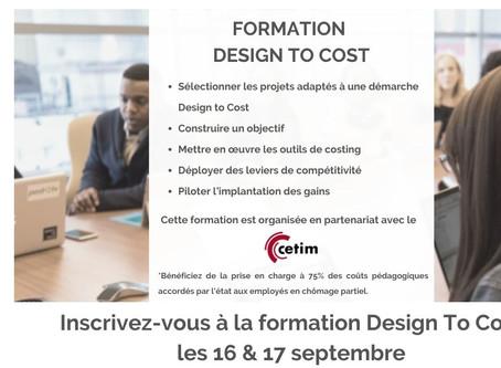 Formez-vous au Design to Cost les 16 et 17 septembre 2020