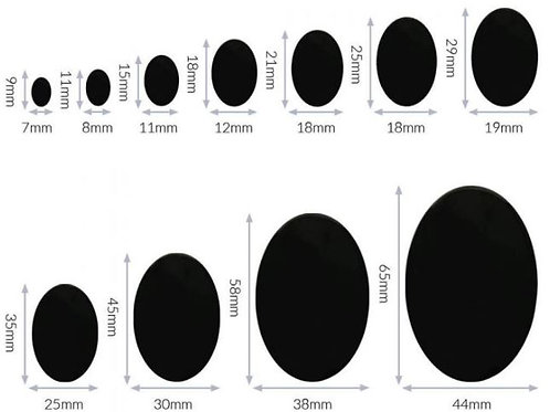 Sicherheitsaugen oval - schwarz