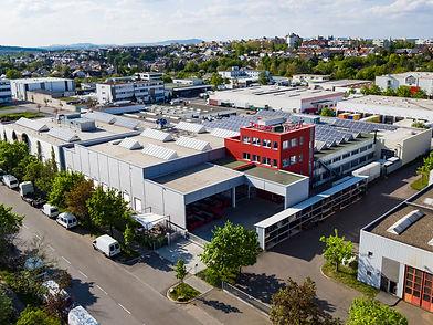 Luftbildaufnahme der Produktionshalle in Ludwigsburg der Diamant- Gesellschaft Tesch GmbH