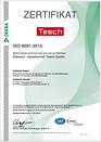 Qualitätszertifikat ISO 9001:2015 deutsch der Diamant- Gesellschaft Tesch GmbH