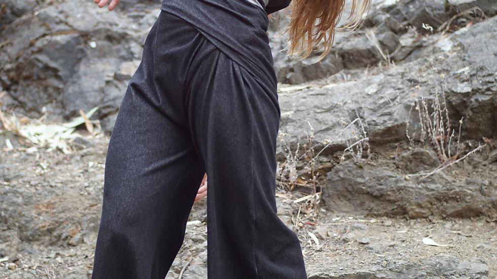 drape pant / knitted denim