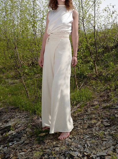 jaleh pant / wide leg in hemp / organic cotton terry