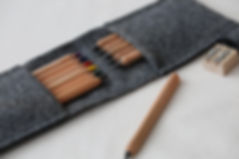 Kvadrat wool pencil pouch by Herderin