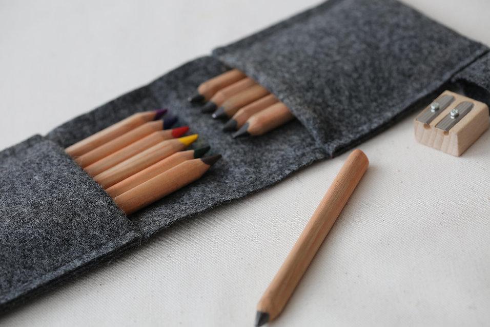 Kvadrat wool pencil pouch by Herderin