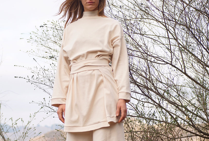 samaa funnelneck sweater in organic cotton rib