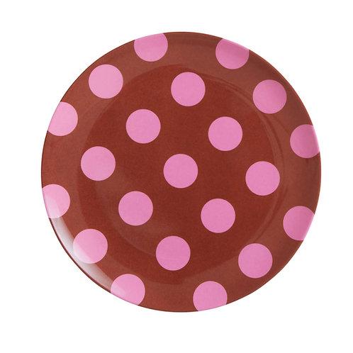 rice - Runder Melamin Teller - Pink Dots Print