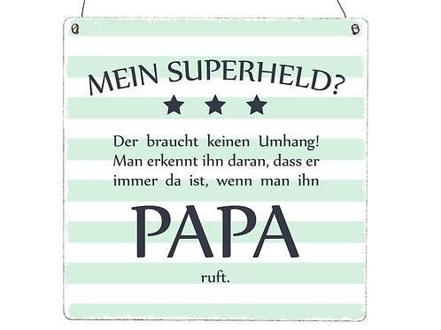 XL Holzschild MEIN SUPERHELD PAPA Vatertag