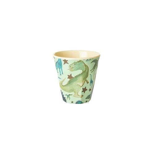 rice - SMALL MELAMINE KIDS CUP - PINK - DINO PRINT
