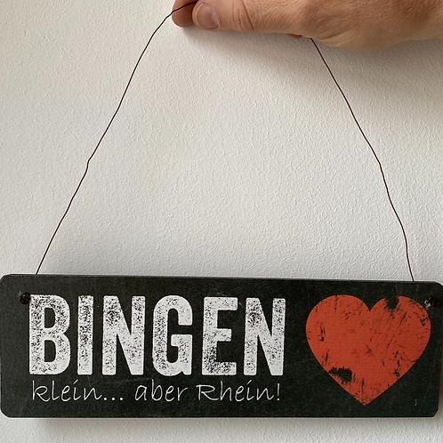 """Interluxe - Schild - """"Bingenklein ... aber Rhein"""" - Holz"""