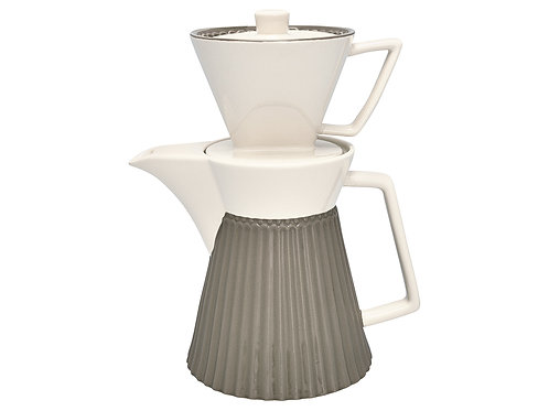 GreenGate - Stoneware - Kaffee Kanne mit Filter Alice warm grey