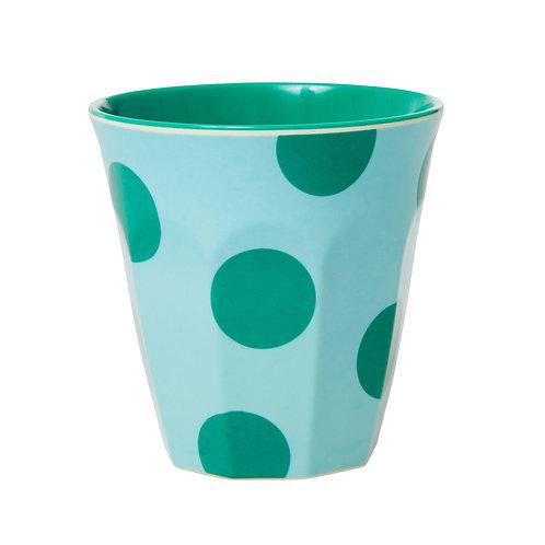 rice - Melamine Cup - Green dots - Medium - Becher