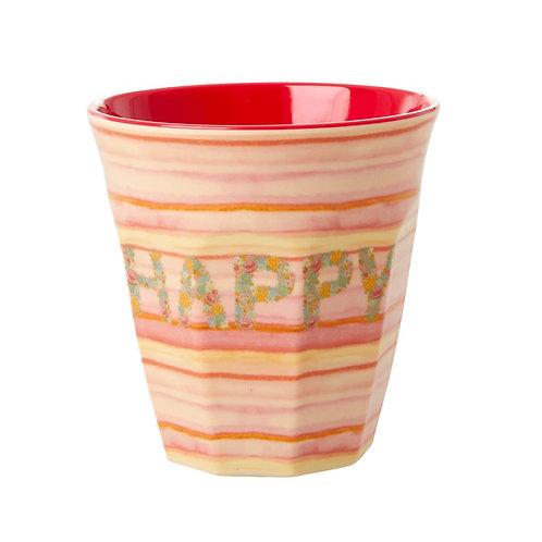 rice - Melamine Cup- Happy - Medium - Becher