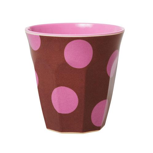 rice - Melamine Cup - Pink dots - Medium - Becher