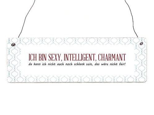 Shabby Vintage Schild Türschild - Ich bin sexy, intelligent, charmant