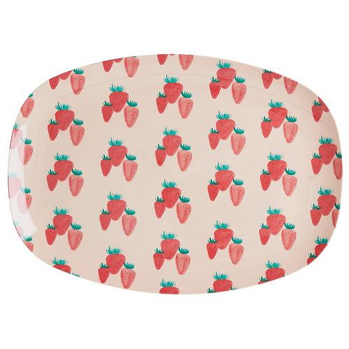 rice - ovaler Melamin Teller - Strawberry Print