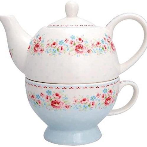GreenGate - Tea for one - Tess white - Kanne inkl. Teacup - Teeset