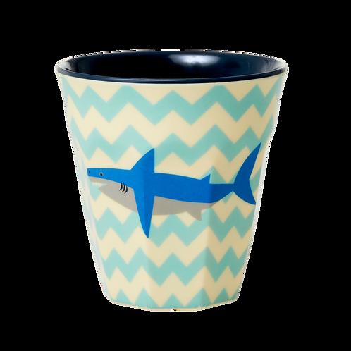 rice - Melamine Cup - Shark Print - Medium - Becher