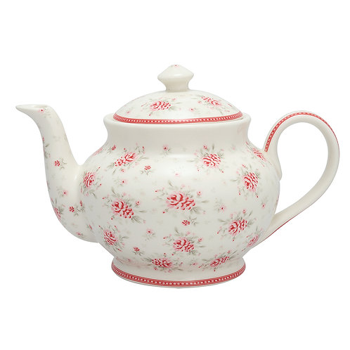 GreenGate - Teekanne - Flora White - Teapot round