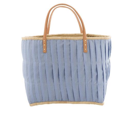 rice - Raffia Einkaufskorb - Vichy - blau