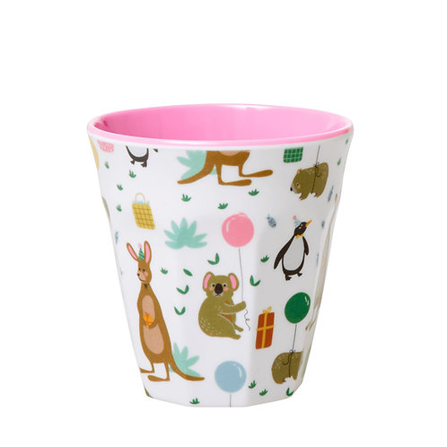 rice - SMALL MELAMINE KIDS CUP - PINK - PARTY ANIMAL PRINT