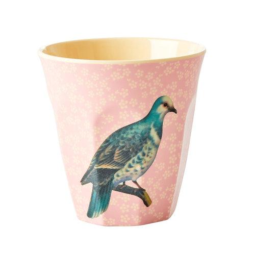 rice - Melamine Cup  -  Vogelprint - rosa