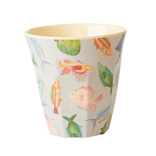 rice - Melamine Cup - Fish Print - Medium - Becher