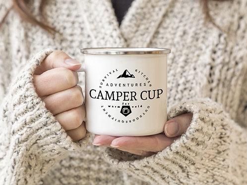 Interluxe - EMAILLE BECHER Retro Tasse CAMPER CUP
