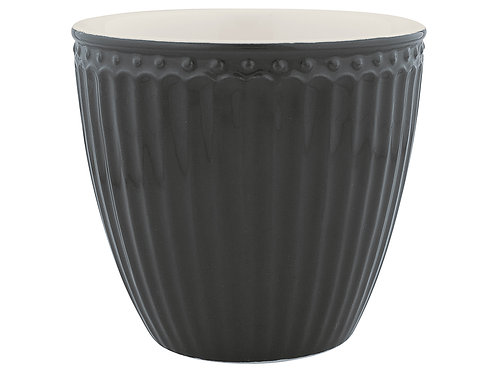 GreenGate - Stoneware - Latte cup - Alice - dark grey