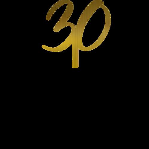 30 cursiva Topper