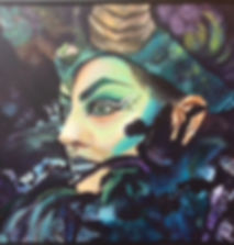 Judi_GOTH IN PURPLE AND GREEN_acrylic on