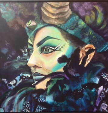 Judi_GOTH IN PURPLE AND GREEN_acrylic on